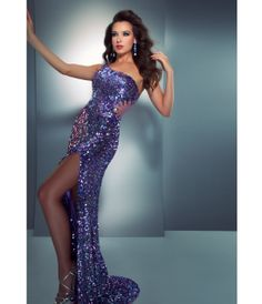 Mac Duggal Prom 2013- Lilac Multi-Colored Gown With Sexy Back Design - Unique Vintage - Prom dresses, retro dresses, retro swimsuits.