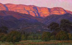 """The Pink Moment"", 10""x16"", Oil on Linen; Charles Muench; Click to see price for original! #California #Landscape #EnPleinAir #Art"