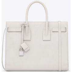 Saint Laurent Classic Small Sac De Jour Bag In Dove White Grained... ($2,750) ❤ liked on Polyvore featuring bags, handbags, shoulder bags, dove white, yves saint laurent handbags, pocket shoulder bag, yves saint laurent, white shoulder handbags and strap purse