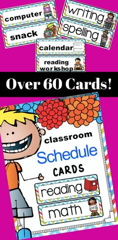Schedule cards included in this file are: reading writing math science social studies spelling health art recess gym phys. ed music guest speaker class party assembly field trip morning meeting pack up, etc. etc.