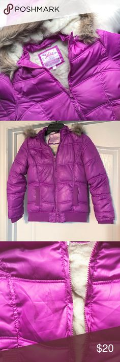 Justice Faux Fur Coat Great condition warm fuzzy furry coat by Justice. Purple color. Small stain on front. I have not tried to wash it, so it may come off if you choose to do so. Not very noticeable. Justice Jackets & Coats Puffers