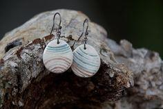 SALE Handpainted ceramic earrings on sterling silver