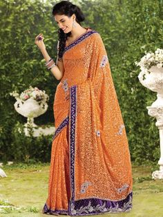 Look Stunning and grab all attention towards you in this beautiful designer saree. The saree is crafted in nett material. The specialty of the saree is its gorgeous velvet border with silver work on it. The gorgeous floral work all over and designer motifs adds beauty to it. It is teamed with a matching designer blouse for a pretty look. (Slight variation in color is possible) http://www.kalazone.in/wxv-31979.html