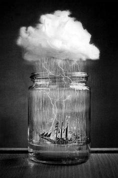 Ship inside a Jar with cloud & rain art