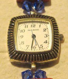 Ladies White and Silver Narmi watch, Blue Bead & Red Stone Stretch Bracelet Band #Narmi #Fashion