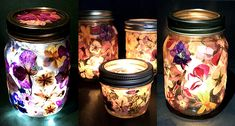 How to make pressed flower tea lights Wine Bottle Crafts, Mason Jar Crafts, Mason Jar Diy, Fun Craft, Pressed Flower Art, Flower Tea, Tea Light Holder, Flower Crafts, Diy Flower