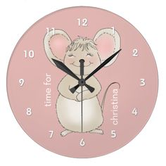 What a special gift this would be for any child to hang in the bedroom so a sweet mouse can smile all day long while telling what time it is. #mouse #happy #mouse #pink #mouse #pink #time #for #children #little #girl #bedroom #clock #girl's #room #pink clock