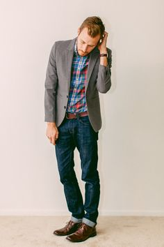 Plaid, gray, denim in similar hues.  It's about balance. It's not always about flash.