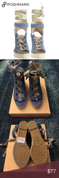 NIB Castañer Deborah Tie Up Chambray Wedges This a re-posh. It didn't fit me. Priced so I can get back what I paid minus fees. They're brand new in box with tags. First photo is stock photo. Castañer Shoes Sandals