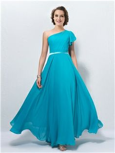 New A-line One-Shoulder Cap Sleeve with Belt Bridesmaid Dress