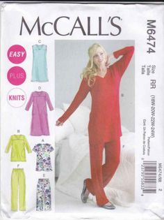 McCalls Sewing Pattern 6474 Womens Plus Sizes 18W-24W Easy Knit Pajamas Nightgown  $14.99