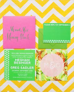 bright and colorful wedding invitation!