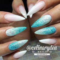 Glittery Tiffany Blue Ombre Stiletto Nails