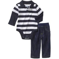 4825a953a Garanimals - Newborn Baby Boy Striped Polo - Walmart.com. Denim Pants OutfitLong  Sleeve BodysuitBaby ...