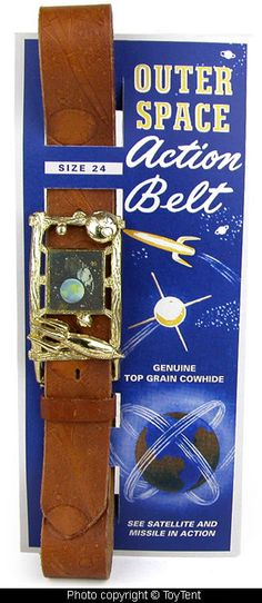 Outer Space leather belt flicker buckle lenticular art moving satellites rockets
