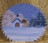 free images to paint on sawblades   Church In The Snow Saw Blade Made In America By Paint By Rhoda