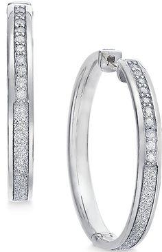 Diamond Medium Glitter Hoop Earrings (1/4 ct. t.w.) in Sterling Silver
