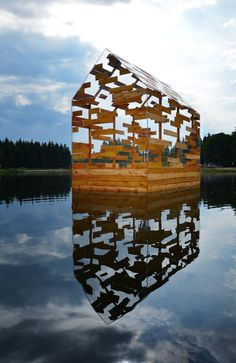 This see-through floating hut designed by Elise Morin and Florent Albinet is modelled on the remote cabin built by American author Henry David Thoreau in the mid-19th century