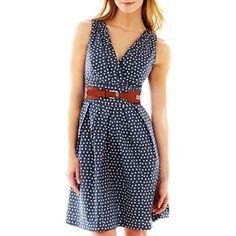 blue with white polka dot dress