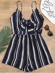 Tied Cami Striped Beach Romper - Deep Blue S Cute Fashion, Trendy Fashion, Fashion Outfits, Two Piece Dress, Two Piece Outfit, Jumpsuit Dressy, Cute Rompers, Spring Outfits, Ideias Fashion