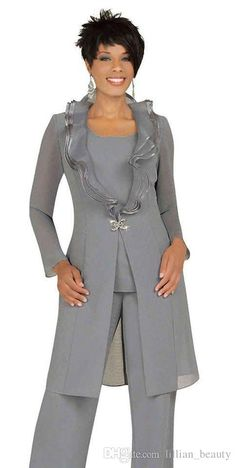 2016 Fashion Silver Gray Mother of the Bride Gowns Pant Suits with Long Jacket Unique Neckline One Button Tunic Trousers Evening Outfits Mother Of The Bride Plus Size, Mother Of The Bride Gown, Mother Of Groom Dresses, Mothers Dresses, Mother Bride, Long Sleeve Evening Dresses, Evening Outfits, Mob Dresses, Plus Dresses