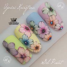 Floral Nail Art, Nail Art Diy, Wow Nails, Pretty Nails, Flower Nail Designs, Nail Art Designs, Art Deco Nails, Nail Drawing, Nail Stencils