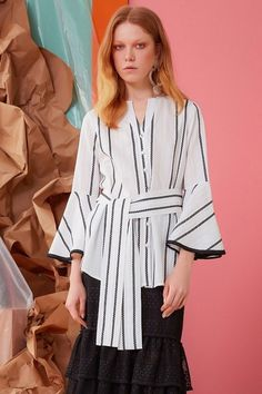 Gizia offers all the variations of women's high fashion and trends. Bell Sleeves, Bell Sleeve Top, High Fashion, Women Wear, Ruffle Blouse, Spring Summer, Seasons, Collections, Tops