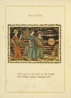 Image Title: Autumn.1889 Creator: Greenaway, Kate, 1846-1901 -- Artist Source: Almanack for .... / Almanack for 1890 / by Kate Greenaway ; engraved & printed by E. Evans. Source Description: [24] p. : col. ill. ; 11 cm.