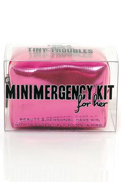 "Hot Pink Minimergency Survival Kit - ""...we've miniaturized 16 emergency essentials that women need at their fingertips. Ladies can stash this low-cost life-saver in an evening clutch, glove compartment, or carry-on bag. Kit includes: Hairspray, Clear Nail Polish, Nail Polish Remover, Emery Board, Lip Balm, Earring Backs, Clear Elastics, Sewing Kit, Double-Sided Tape, Stain Remover, Deodorant Towelette, Pain Reliever, Tampon, Breath Freshener, Dental Floss, and Adhesive Bandages."""