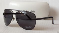 Calvin Klein men sunglasses R122 black aviator style metal frame with case