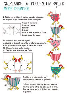 Chicken garland would make a cute Easter/spring project/ Website great..in French but translates to English if needed,