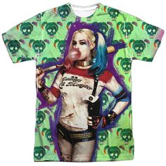 """Suicide Squad Harley Bubble Skull Adult Tee - Front Print Only - Officially Licensed - High Quality - Front Print Only - 100% Polyester / Fabric Weight 4.5 oz. - Rib Knit 3/4"""" Collar - Wicking Propert"""