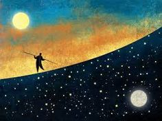 SEILTÄNZER [noun] a tightrope walker; tightrope artist - an acrobat who performs on a tightrope or slack rope. Etymology: German, seil (rope) + tanzen (to dance, spin, bob). Color Draw, Troubles Bipolaires, Full Moon In Libra, Tarot, Sun Moon Stars, Medan, Artsy Fartsy, Storytelling, Illustration Art
