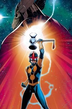 """It's hammer time! Young Sam Alexander, the new Nova, is waving his token of victory over Beta Ray Bill (that's not a Stanley hammer). (BTW: I heard a radio ad for """"Marvel Now! Marvel Comic Character, Comic Book Characters, Comic Book Heroes, Marvel Characters, Comic Books Art, Comic Art, Marvel Comic Universe, Marvel Comics Art, Marvel Heroes"""