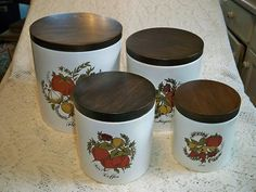 Vintage 1960s Ransburg Kitchen Canister Set Decoware with Wooden Lids by BlackRain4