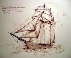 Pirate ship sketch with brown inkBy picturesofmaya