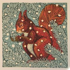 """Red Squirrel"", Greetings Card Design by Vanessa Lubach, Illustrator, Painter & Printmaker ...."