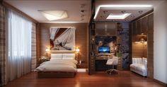 chambre cosy - plafond design, lambris bois massif, lit deux places et sol en parquet massif