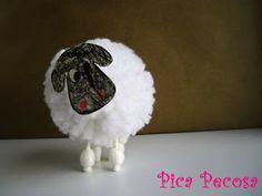 Cómo hacer una oveja con un pompón de lana - Pica Pecosa