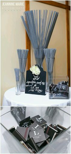 ♡ guest favors °sparklers and matchbooks° ♡