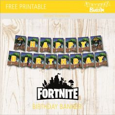 This free printable Fortnite birthday banner template is great for making a banner decoration at your Fortnite birthday party that reads HAPPY BIRTHDAY. The template is inspired by the super popular survival game. The design features characters from the game and vibrant background which is a simple tree and fence which are common things you …