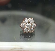 Dermal Anchor Tops Genuine 14k Rose gold 6.29mm with CZ prong set AAAAA Polished