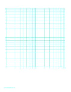 This letter-sized log-log paper has a logarithmic horizontal axis (two decades) and logarithmic vertical access(two decades) and has equal scales. It is in portrait (vertical) orientation. Free to download and print