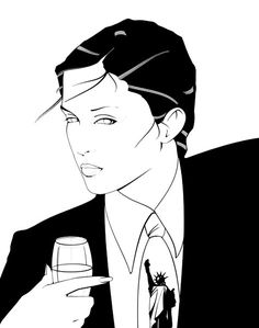 I love this drawing by Patrick Nagel. It has a mixture of masculinity and femininity. The lack of color make it more interesting especially the eyes. #80s