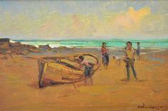 MENASE WAIDERGORN - (1927)    Título: Pescadores  Técnica: óleo sobre tela  Medidas: 21 x 30 cm  Assinatura: canto inferior direito