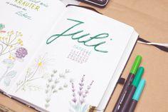 Bullet Journal | Setup Juli 2021 Thema Kräuter - Freulein Linka Bullet Journal Ideas