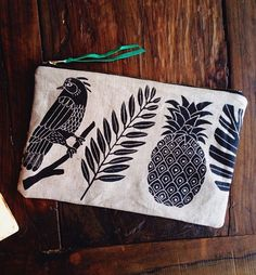 Zippered pouch--looks like it might be made from a tea towel or something