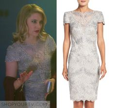 "Riverdale: Season 1 Episode 11 Alice's Lace Shealth Dress | Shop Your TV Alice Cooper (Madchen Amick) wears this lace v neck mesh short sleeved sheath dress in this episode of Riverdale, ""To Riverdale and Back Again"".  It is the Tadashi Shoji Lace Sheath Dress."