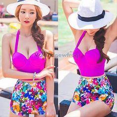 V1nf mujeres Floral Vendaje Alta Cintura Push Up dos piezas traje De Baño Bikini conjunto