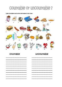 countable and uncountable nouns exercises for kids
